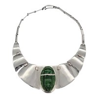 Mexican Silver Fred Davis Green Hardstone Shield/Mask Necklace
