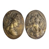 Pair Antique Brass Plated Iron Art Nouveau Wall Plaques - Large