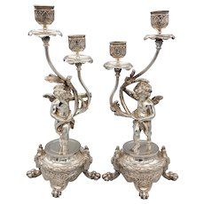 Pair of Antique French Putti / Cherub Candelabra - Silverplate