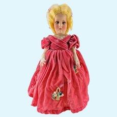 """Lenci 1930s Series 300 Doll - Velvet Dress, Blond Hair and Blue Eyes - 18"""""""
