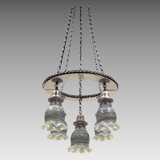Vintage Silverplate Brass 5-Light Fixture - Loetz Art Glass Shades