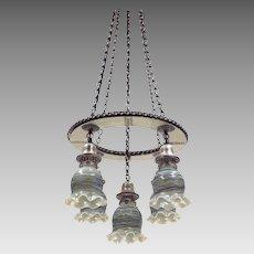 Vintage Silverplate Brass 5-Light Fixture - Loetz Art Glass Shades