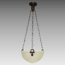 Vintage Bowl Light Fixture - Cast Glass - Urns & Swags