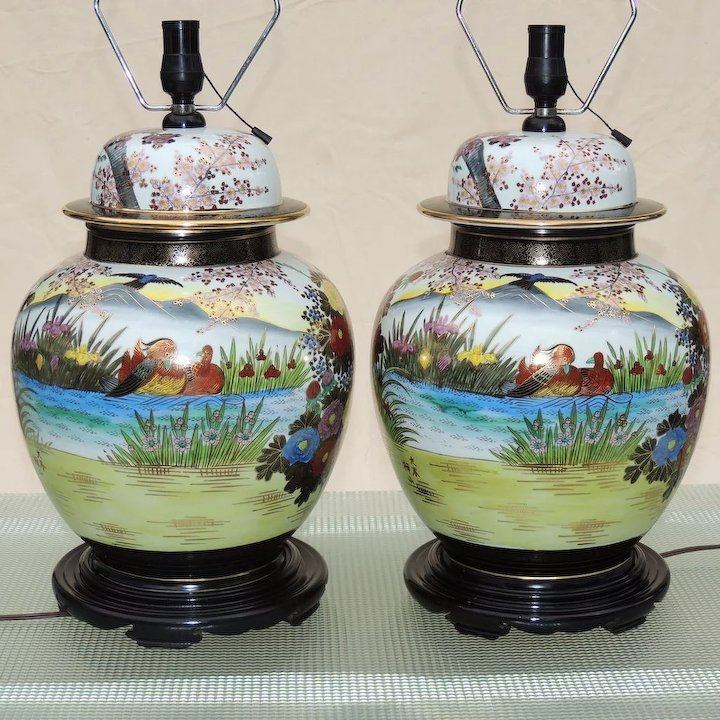Large Pair Ginger Jar Lamps Anese Kutani Mid Century