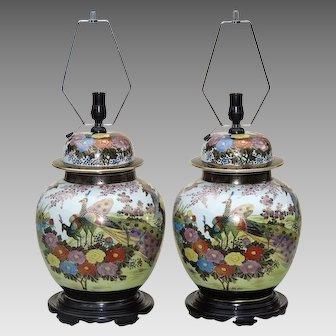 Large Pair Ginger Jar Lamps Japanese Kutani - Mid Century
