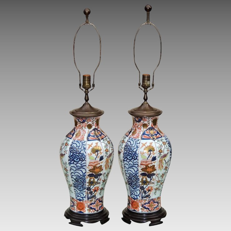 Pair Large Vintage Imari Vase Form Lamps By Wildwood With Birds And