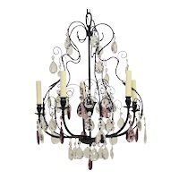 Vintage European Brass & Crystal Chandelier