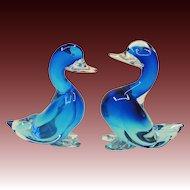 Pair Large Blue Seguso Murano Glass Ducks