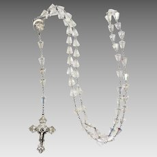 Vintage Sterling Silver & Crystal Rosary - marked Chapel