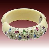Vintage Weiss Clamper Bracelet w/Colored Rhinestones