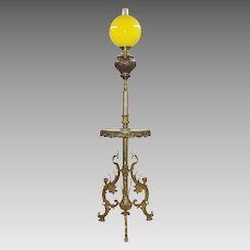 Ornate Antique Gilt Bronze & Green Onyx Floor Lamp - Winged Ladies - Originally Kerosene Oil