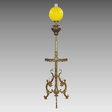 Ornate Antique Gilt Bronze & Green Onyx Floor Lamp - Winged Ladies - Originally Kerosene Oil
