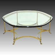 Vintage La Barge / LaBarge Brass Coffee Table - Glass Top