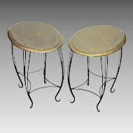 Pair Vintage Side Tables - Embossed Brass and Wrought Iron