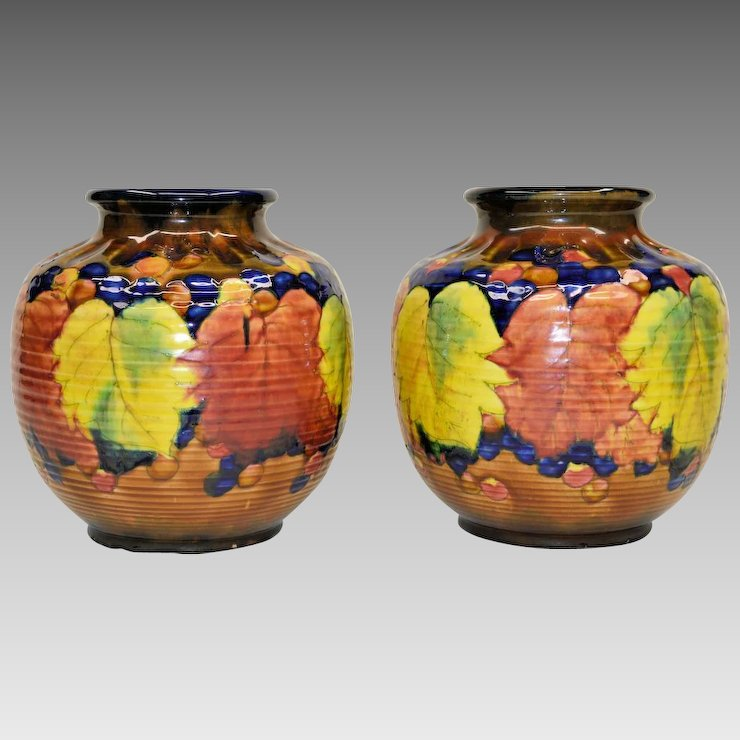 Pair Colorful Vintage Awaji Pottery Vases The Old Light Warehouse