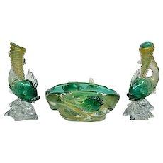 1930s Seguso Vetri D Arte Murano Glass Console Set - Rare
