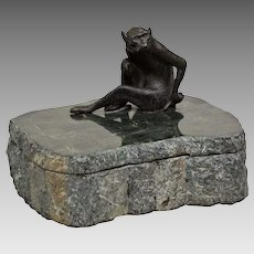 Vintage Maitland Smith Marble Box - Bronze Monkey