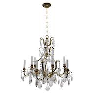 Vintage Swedish Chandelier Brass & Crystal - 10 Lights