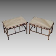 Pair Mid-Century Rattan Tables - Smokey Bronze Mirror Tops