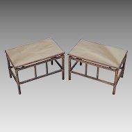 Pair Mid-Century Rattan Tables - Smokey Bronze Mirror Tops