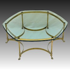 Vintage La Barge / LaBarge Brass Coffee Table - Heavy Glass Top
