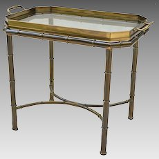 Mastercraft Faux Bamboo Tray Table - Solid Brass