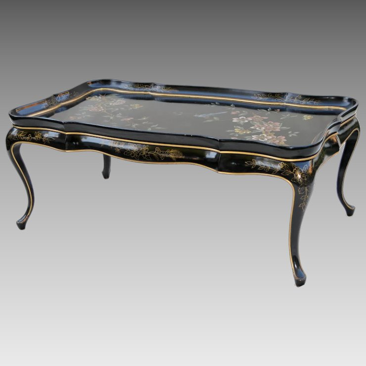 Mid Century Black Lacquer Asian Coffee Table