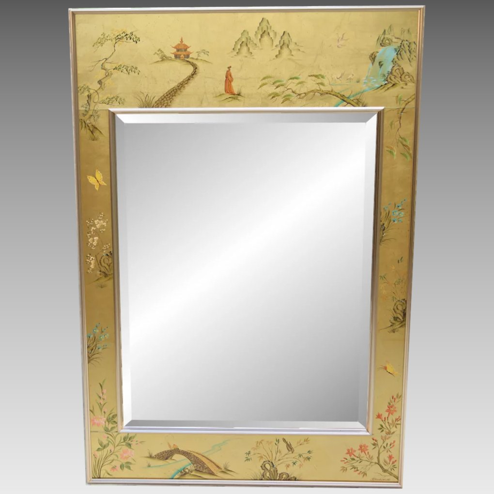 Vintage Labarge Chinoiserie Mirror Artist Signed 1983 To Expand