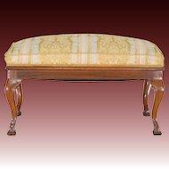Antique Walnut Bench - Silk Upholstered