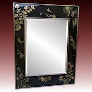 Vintage La Barge / LaBarge Asian Beveled Mirror - Butterlfies and Birds - Artist Signed - 1987