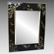 Vintage La Barge / LaBarge Asian Beveled Mirror - Butterlfies and Birds - Artist Signed - 1987
