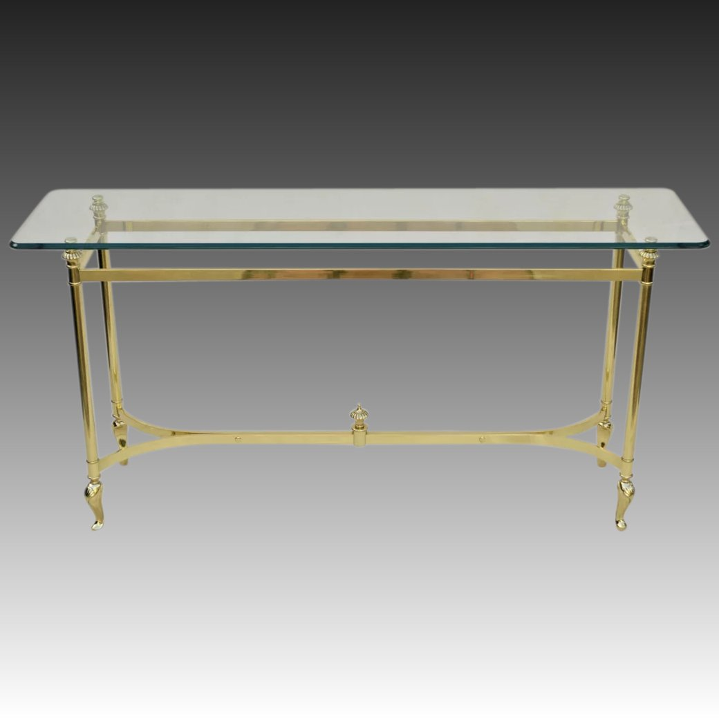 Italian Brass And Glass Table Sofa Console The Old