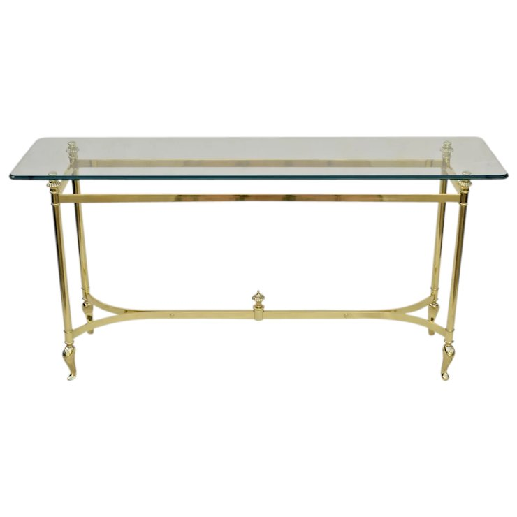 Italian Brass And Glass Table Sofa Console The Old Light