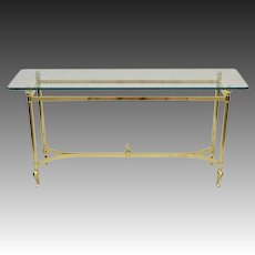 Italian Brass and Glass Table - Sofa / Console
