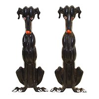 Whimsical Art Deco Dog Andirons - Vintage Cast Iron - Tennessee Chrome Plate Company