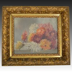 Antique Oil on Canvas Chrysanthemums - Deep Gilded Gesso Frame