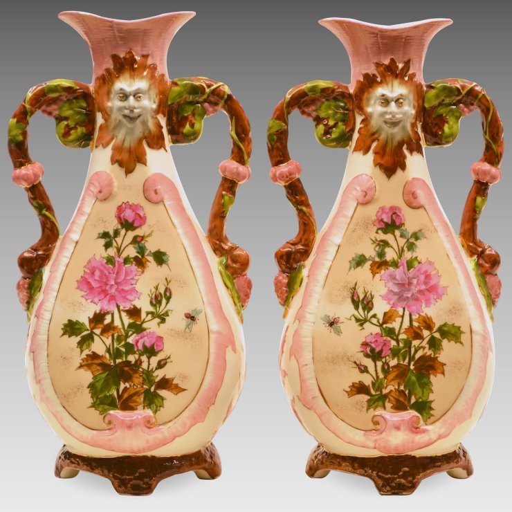 Pair Antique Pottery Vases North Wind Faces The Old Light