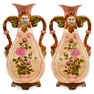 Pair Antique Pottery Vases - North Wind Faces