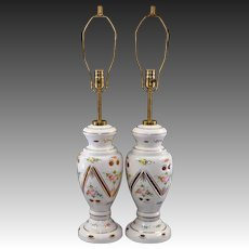 Pair Bohemian Cut to Amber Glass Table Lamps