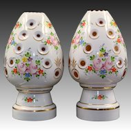Pair Bohemian Cut to Amber Glass Lamps - Egg Form