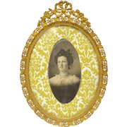 Petite Antique French Picture Frame - Gilt Brass - Flowers & Bow Filigree