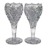 Pair Imperial Thunderbolt Nucut Crystal Vases - Scarce Size