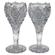 Pair Imperial Thunderbolt Nucut Crystal Vases - Scarce Size