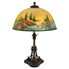 Pittsburgh Reverse Painted Swan, Lake, Stream, Birds, Trees Scenic Lamp - Dolphin Base - 18 inch