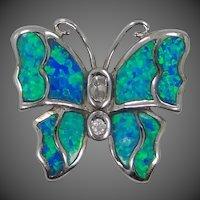 Sterling Silver & Fire Opals Butterfly Pendant