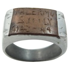 Man's WWII Palermo Sicily Soldier's Souvenir Ring 1943-1944