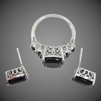 Sterling Filigree D'Joy Black Quartz Ring & Earrings
