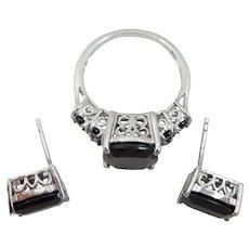 Sterling Filigree D'Joy Black Quartz Ring & Earrings