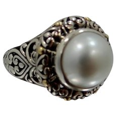 Sterling Silver 18k Gold & Cultured Pearl Balinese Filigree Ring