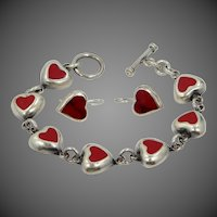 Sterling Silver Red Enamel Heart Motif Bracelet & Earrings Set